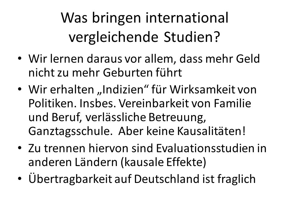 Was bringen international vergleichende Studien