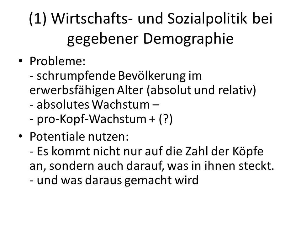 (1) Wirtschafts- und Sozialpolitik bei gegebener Demographie