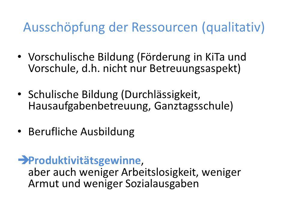 Ausschöpfung der Ressourcen (qualitativ)