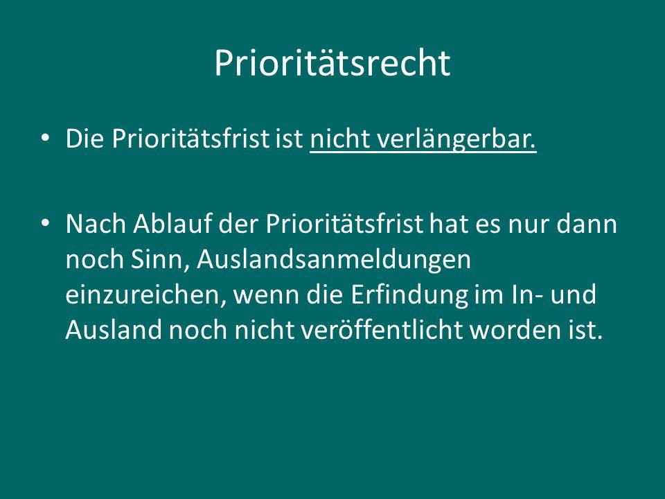 Prioritätsrecht Die Prioritätsfrist ist nicht verlängerbar.