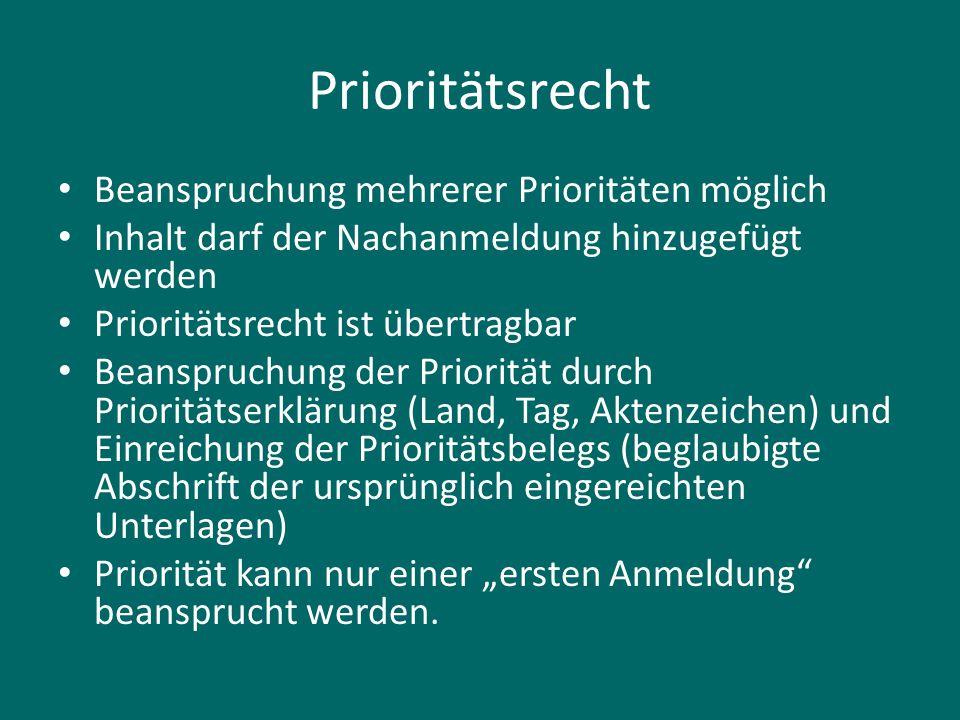 Prioritätsrecht Beanspruchung mehrerer Prioritäten möglich