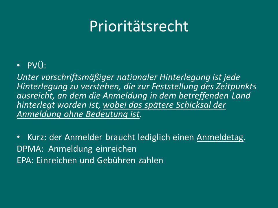 Prioritätsrecht PVÜ:
