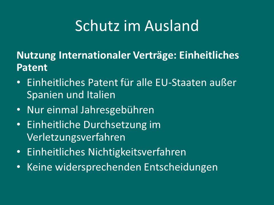 Schutz im Ausland Nutzung Internationaler Verträge: Einheitliches Patent. Einheitliches Patent für alle EU-Staaten außer Spanien und Italien.