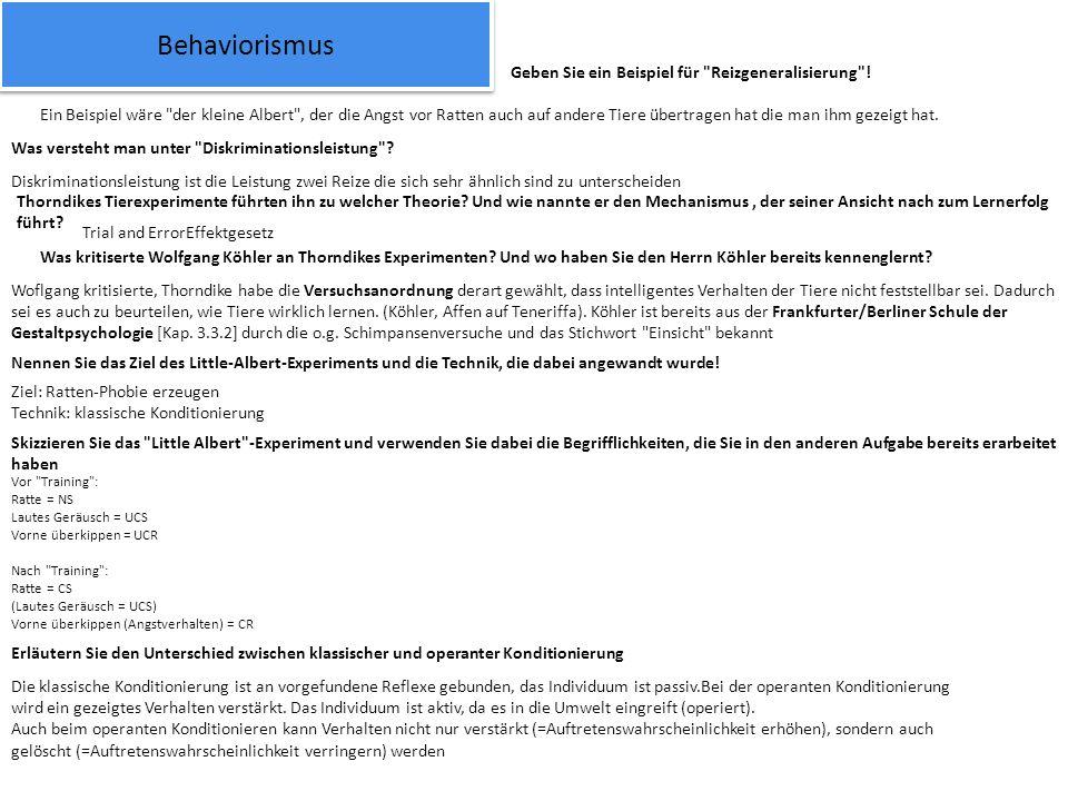 Behaviorismus Geben Sie ein Beispiel für Reizgeneralisierung !