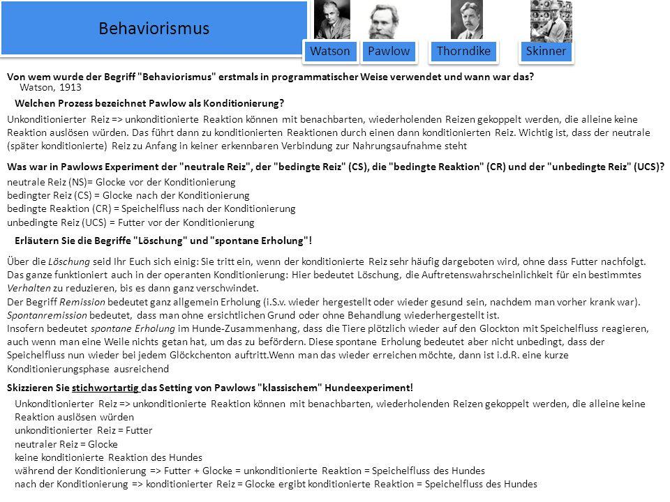 Behaviorismus Watson Pawlow Thorndike Skinner
