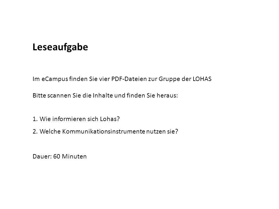 Leseaufgabe Im eCampus finden Sie vier PDF-Dateien zur Gruppe der LOHAS. Bitte scannen Sie die Inhalte und finden Sie heraus: