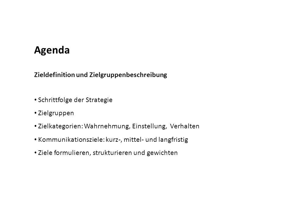 Agenda Zieldefinition und Zielgruppenbeschreibung