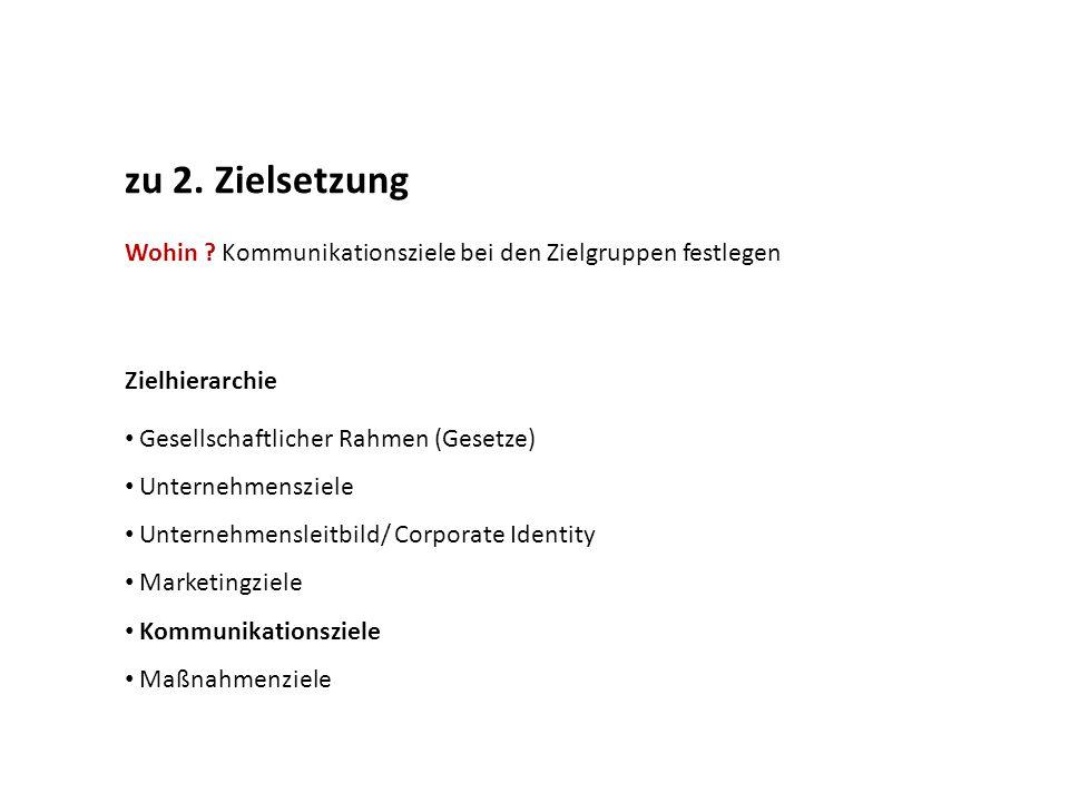 zu 2. Zielsetzung Wohin Kommunikationsziele bei den Zielgruppen festlegen. Zielhierarchie. Gesellschaftlicher Rahmen (Gesetze)