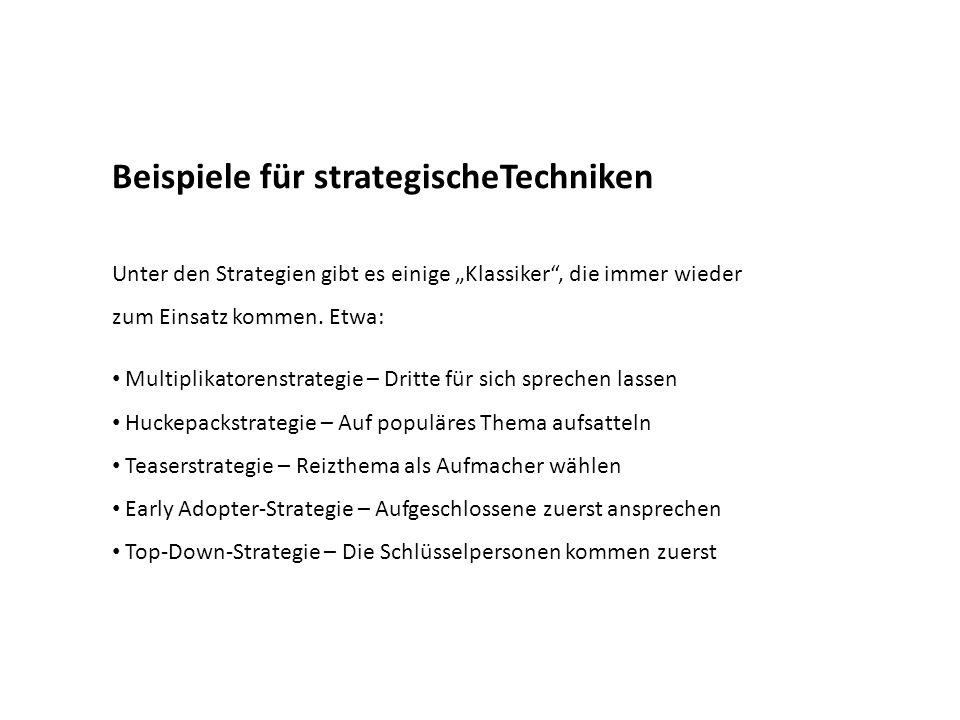 Beispiele für strategischeTechniken