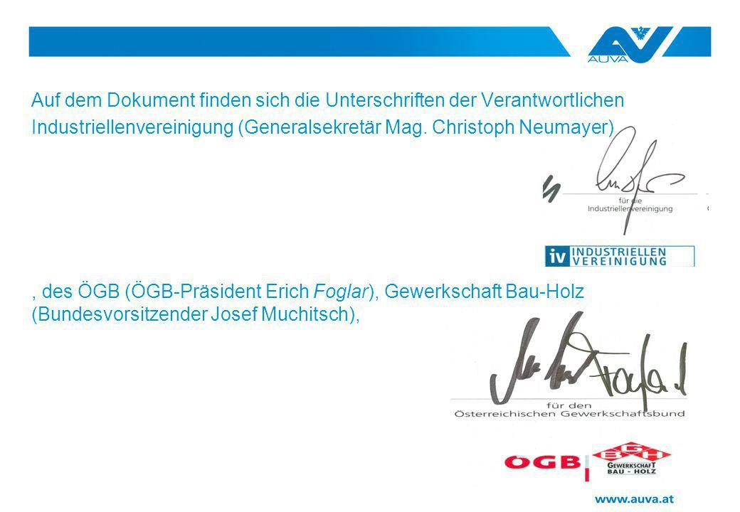 Auf dem Dokument finden sich die Unterschriften der Verantwortlichen Industriellenvereinigung (Generalsekretär Mag.