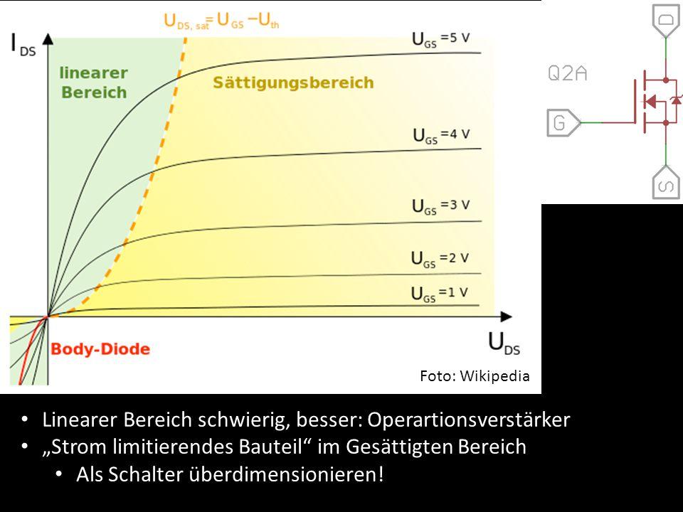 """Mosfet Verhalten Foto: Wikipedia. Linearer Bereich schwierig, besser: Operartionsverstärker. """"Strom limitierendes Bauteil im Gesättigten Bereich."""