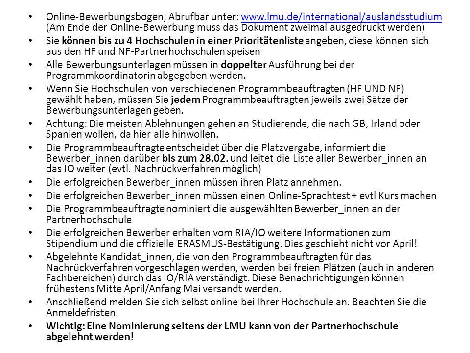 Online-Bewerbungsbogen; Abrufbar unter: www. lmu