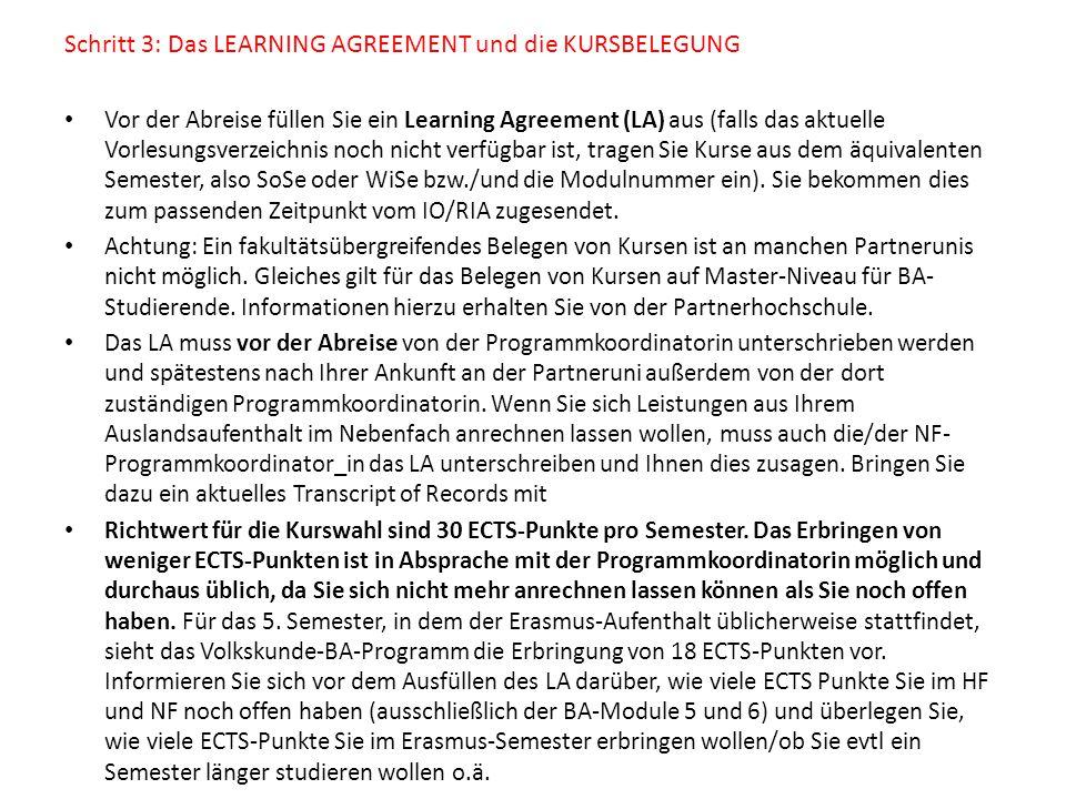 Schritt 3: Das LEARNING AGREEMENT und die KURSBELEGUNG