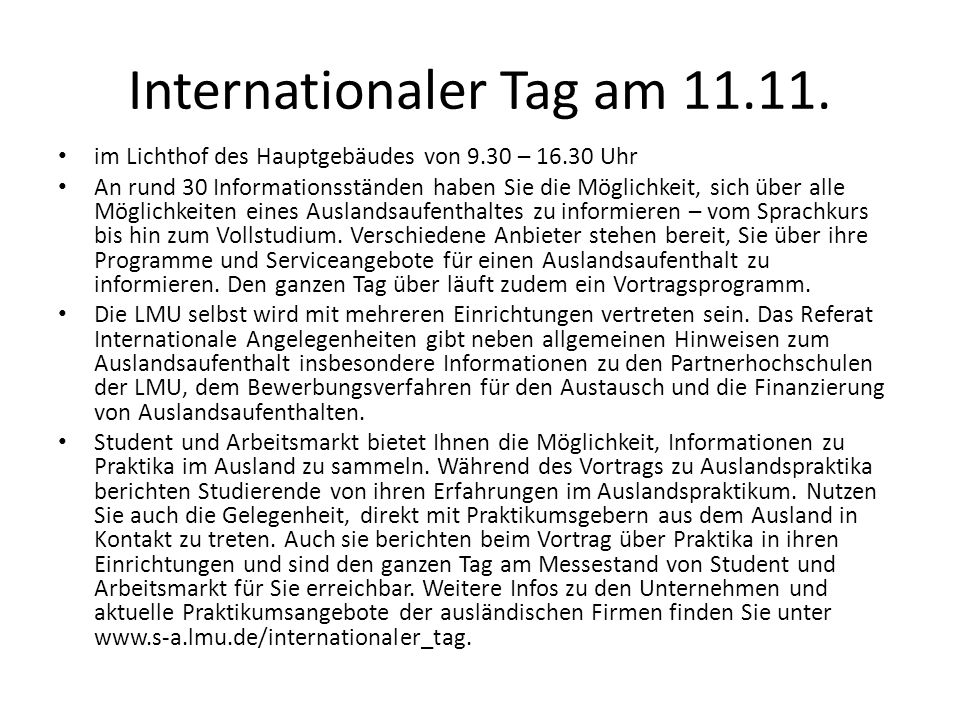 Internationaler Tag am 11.11.