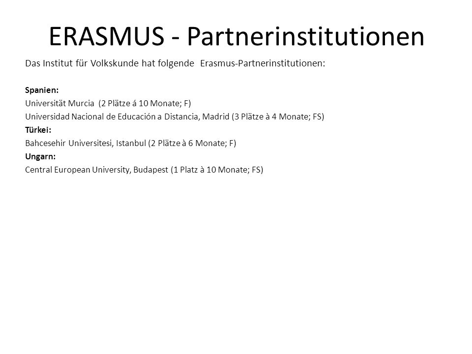 ERASMUS - Partnerinstitutionen