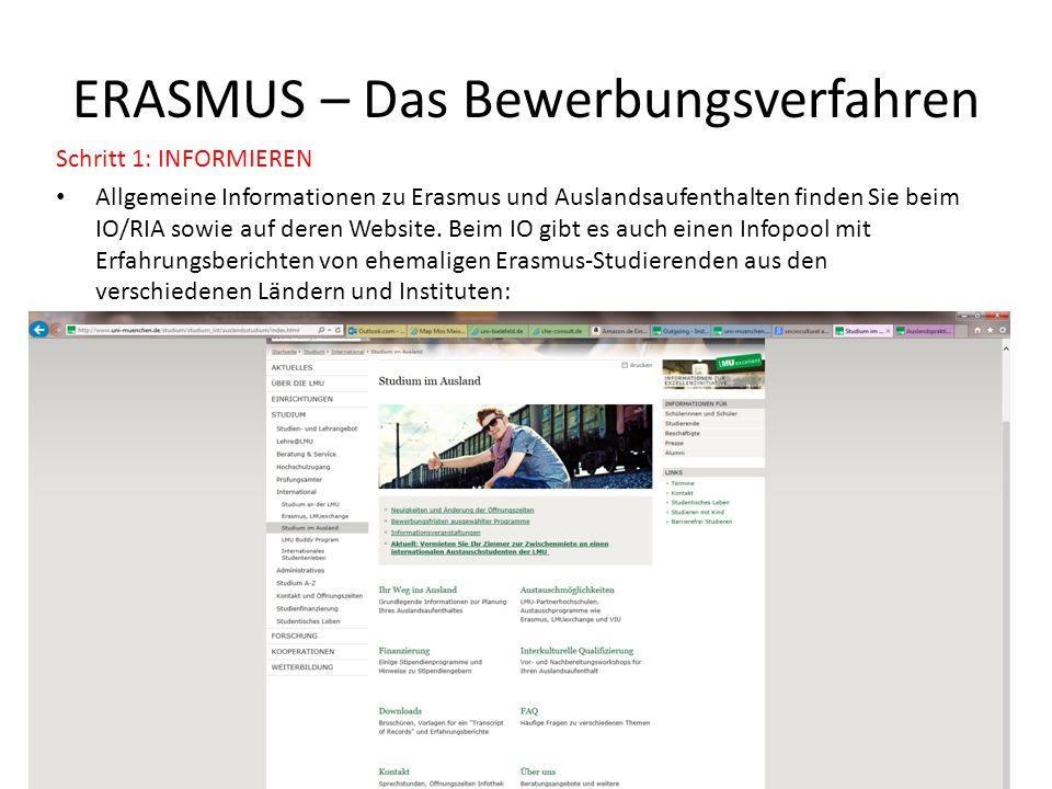 ERASMUS – Das Bewerbungsverfahren