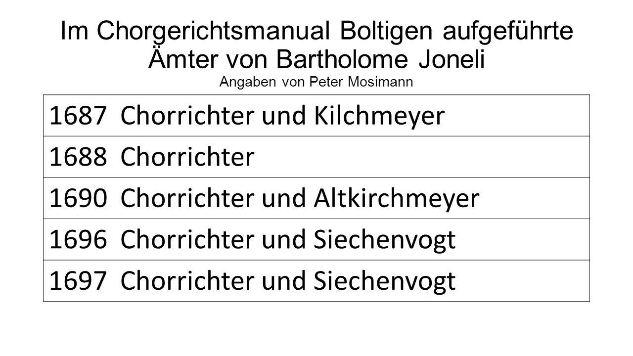 1687 Chorrichter und Kilchmeyer 1688 Chorrichter