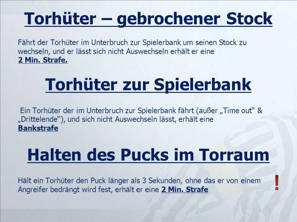 ! Torhüter – gebrochener Stock Torhüter zur Spielerbank