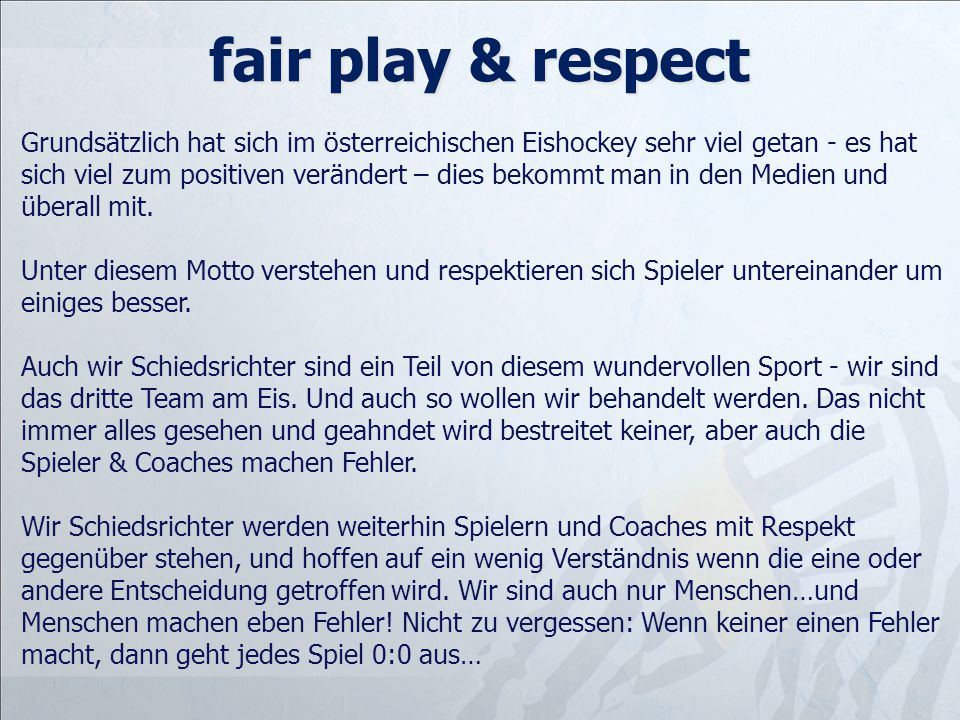 fair play & respect