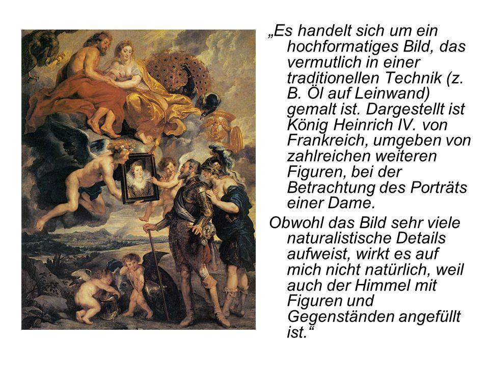 """""""Es handelt sich um ein hochformatiges Bild, das vermutlich in einer traditionellen Technik (z. B. Öl auf Leinwand) gemalt ist. Dargestellt ist König Heinrich IV. von Frankreich, umgeben von zahlreichen weiteren Figuren, bei der Betrachtung des Porträts einer Dame."""
