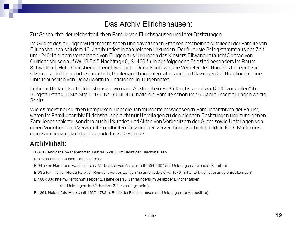 Das Archiv Ellrichshausen:
