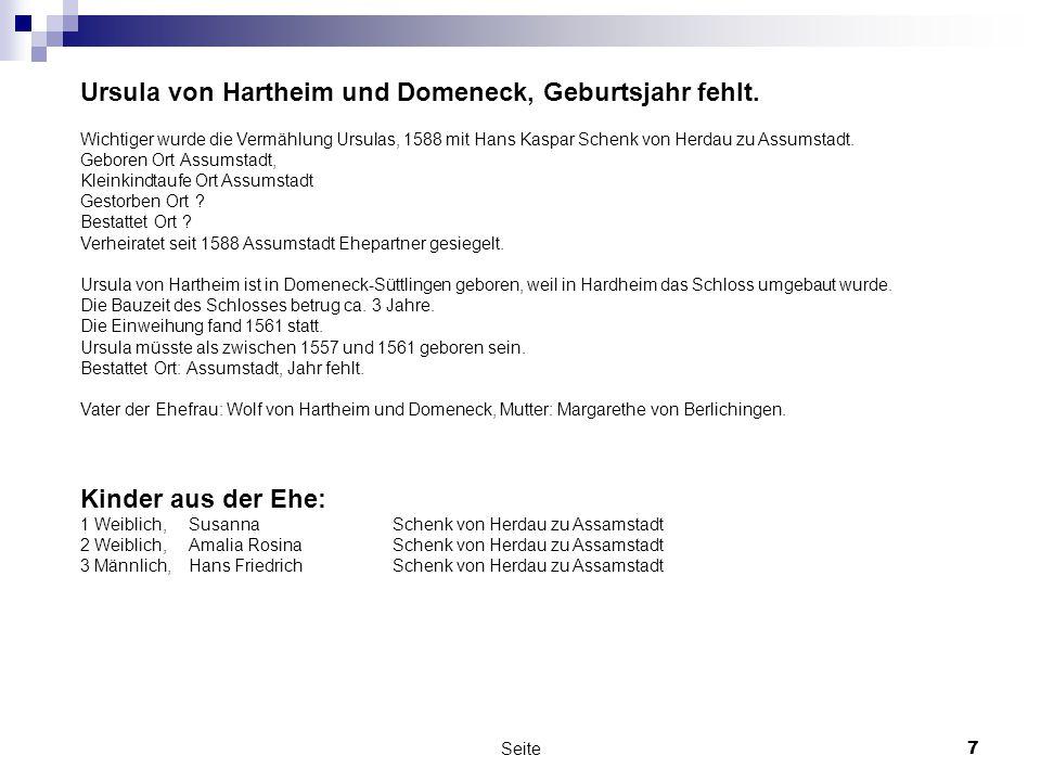 Ursula von Hartheim und Domeneck, Geburtsjahr fehlt.