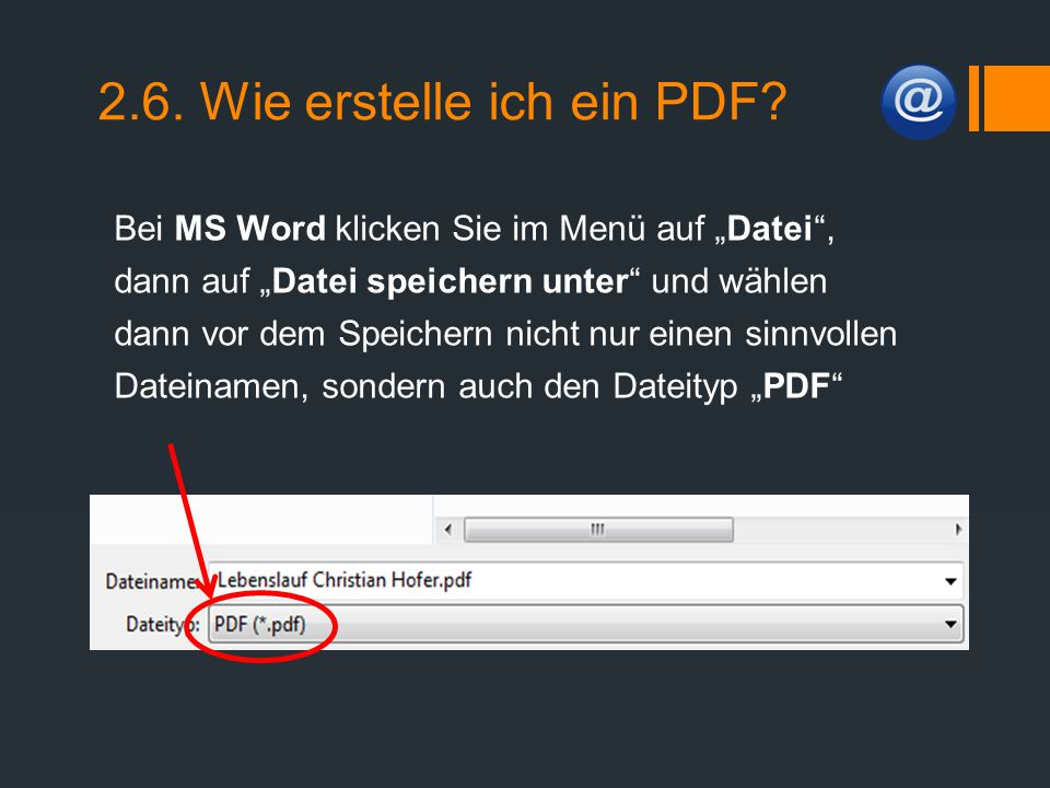 2.6. Wie erstelle ich ein PDF
