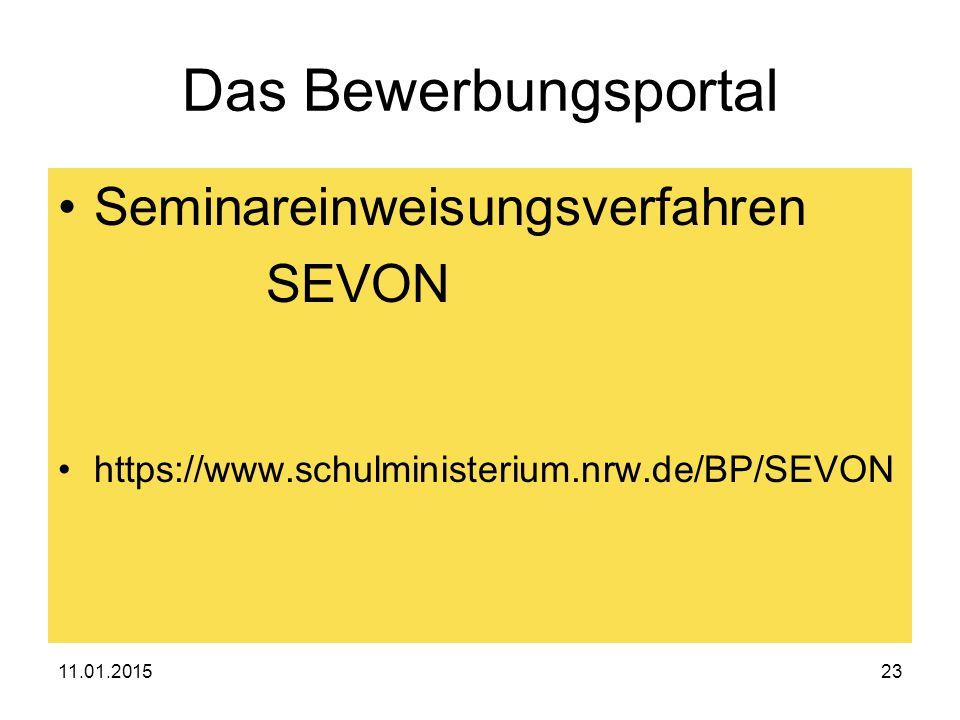 Das Bewerbungsportal Seminareinweisungsverfahren SEVON