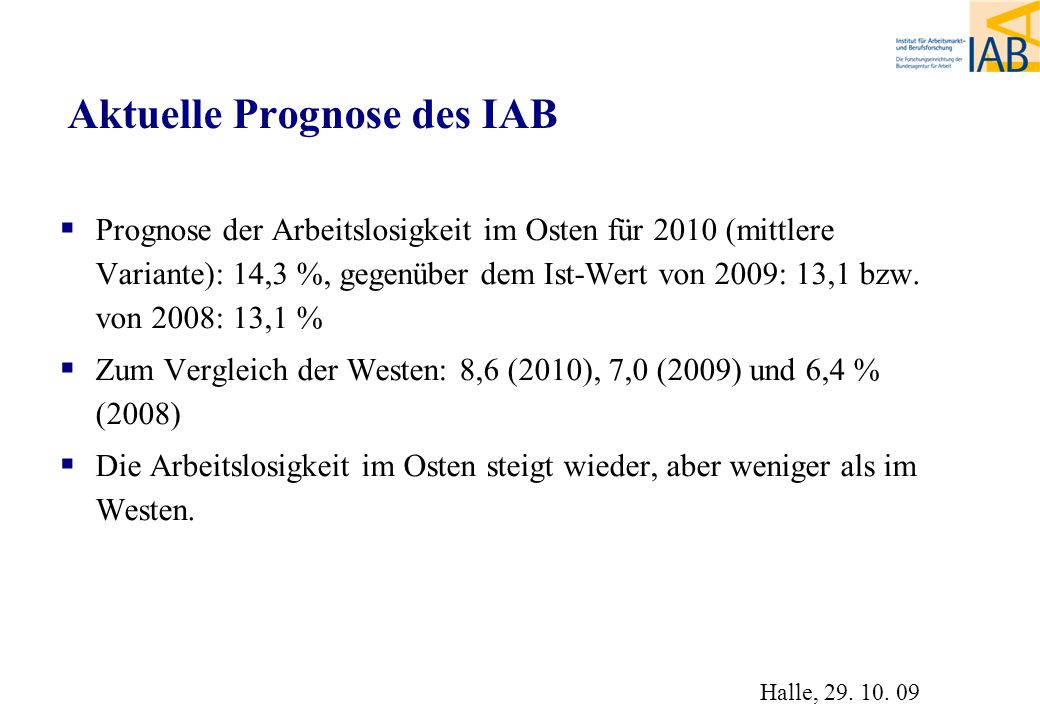 Aktuelle Prognose des IAB