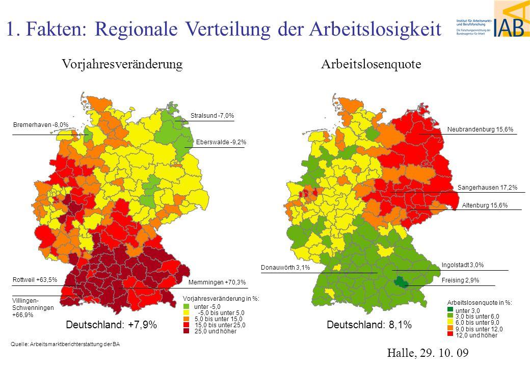 1. Fakten: Regionale Verteilung der Arbeitslosigkeit