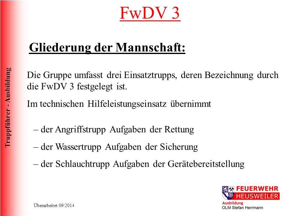 FwDV 3 Gliederung der Mannschaft: