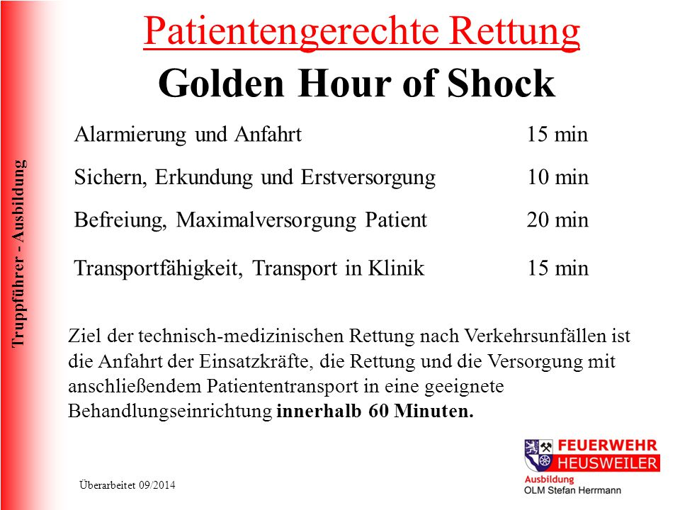 Patientengerechte Rettung Golden Hour of Shock