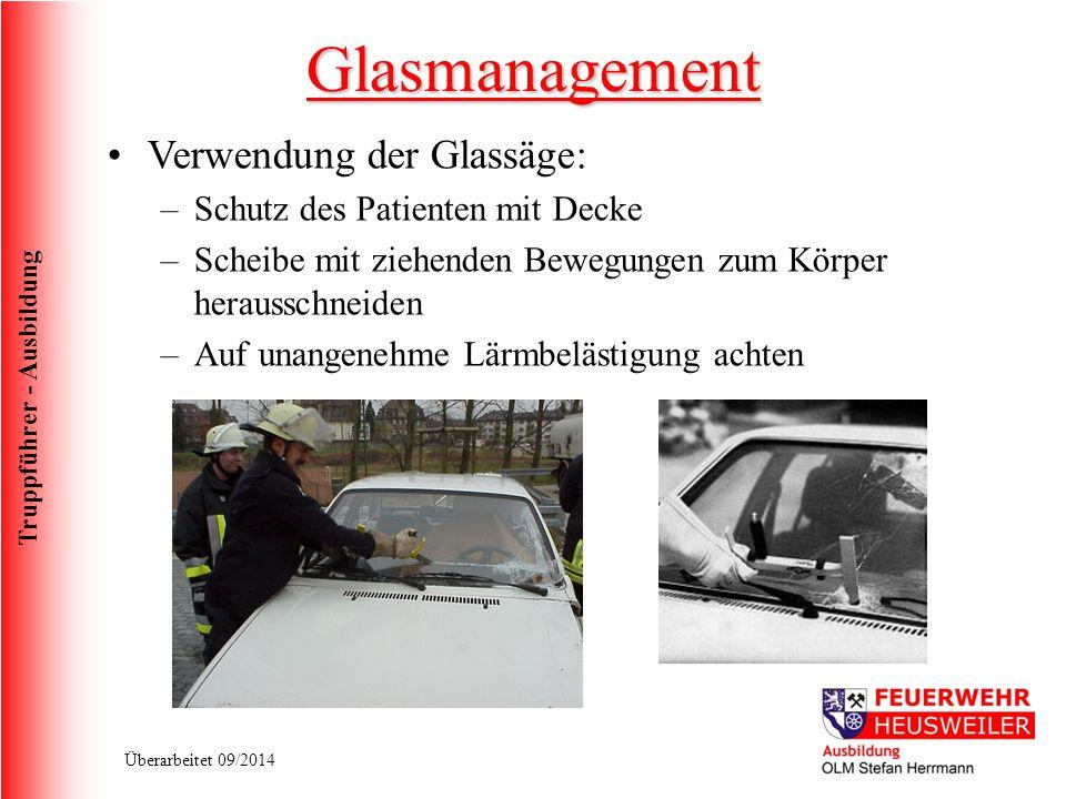 Glasmanagement Verwendung der Glassäge: Schutz des Patienten mit Decke