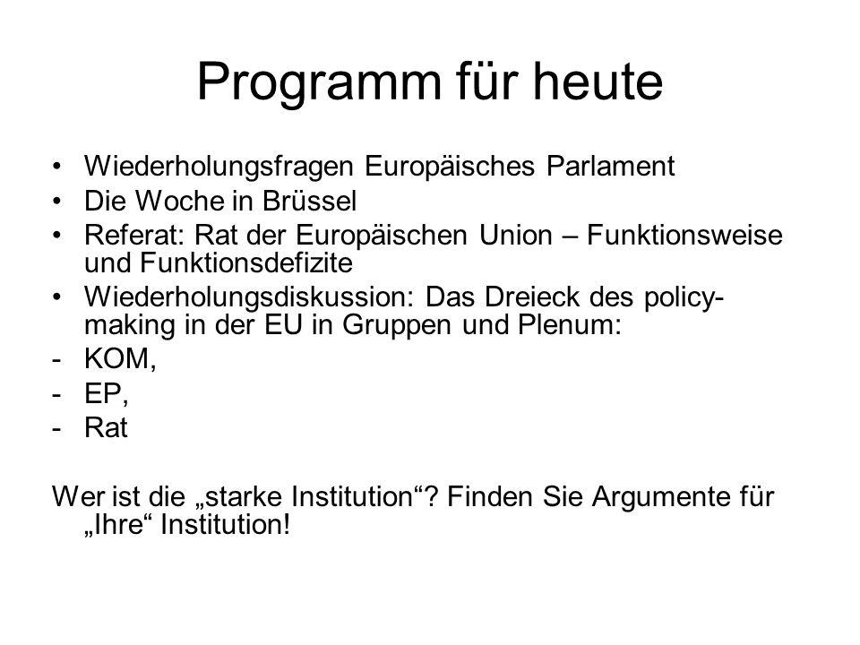 Programm für heute Wiederholungsfragen Europäisches Parlament