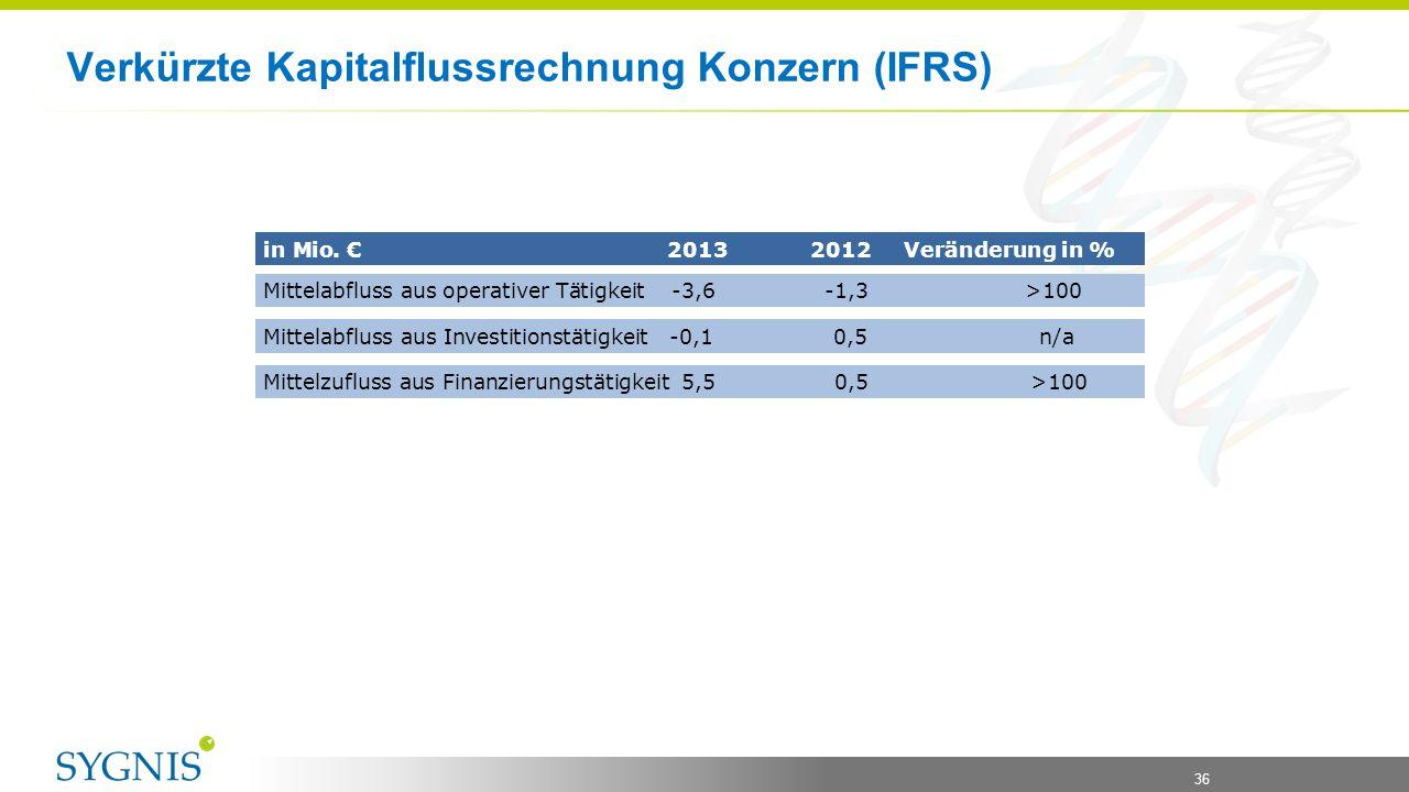 Verkürzte Kapitalflussrechnung Konzern (IFRS)