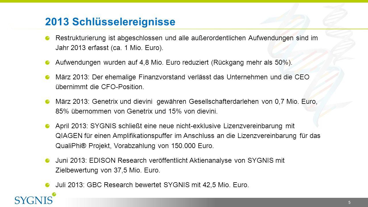 2013 Schlüsselereignisse Restrukturierung ist abgeschlossen und alle außerordentlichen Aufwendungen sind im Jahr 2013 erfasst (ca. 1 Mio. Euro).
