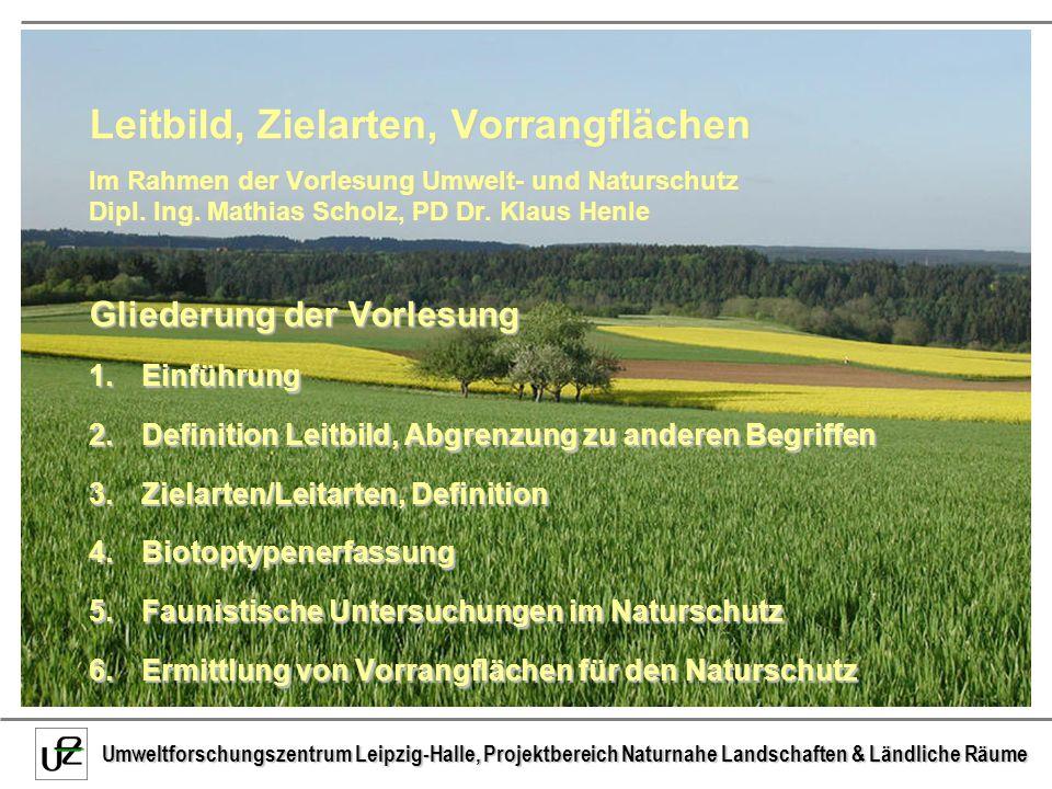 Leitbild, Zielarten, Vorrangflächen Im Rahmen der Vorlesung Umwelt- und Naturschutz Dipl. Ing. Mathias Scholz, PD Dr. Klaus Henle