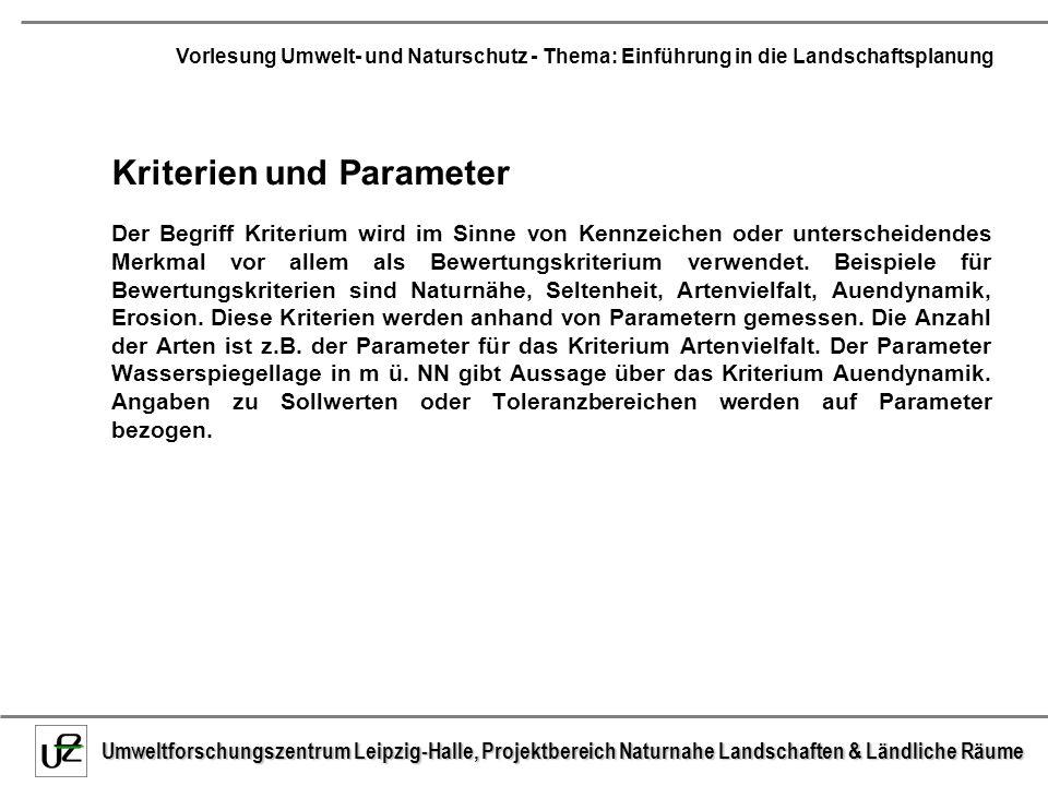 Kriterien und Parameter