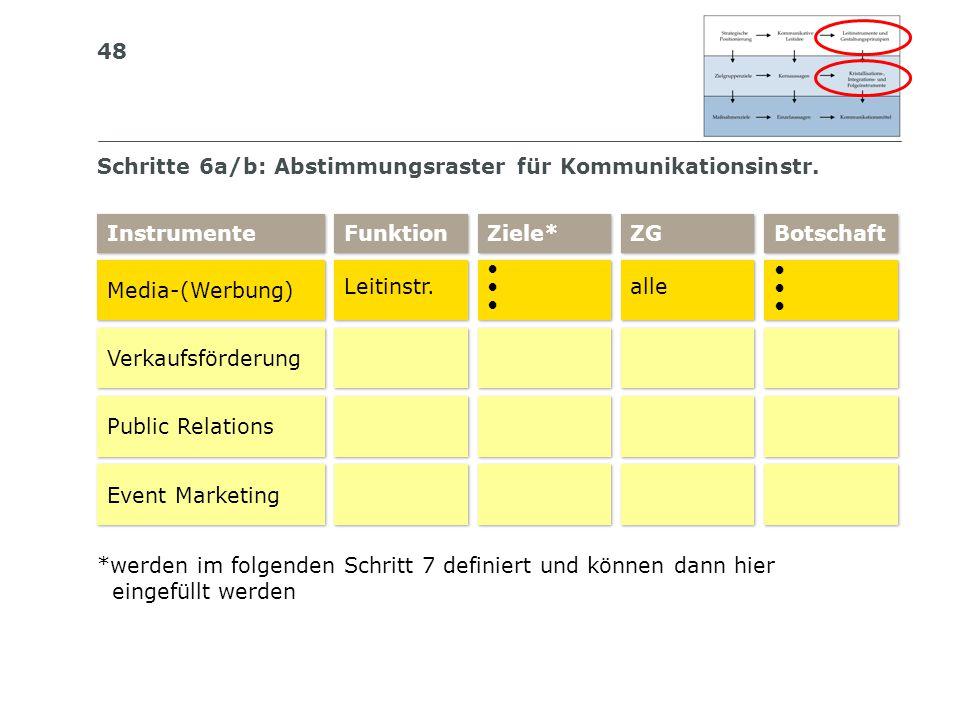 Schritte 6a/b: Abstimmungsraster für Kommunikationsinstr.