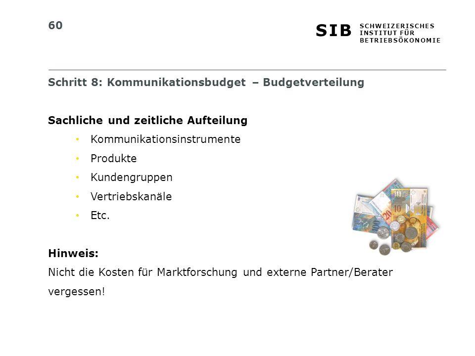 Schritt 8: Kommunikationsbudget – Budgetverteilung
