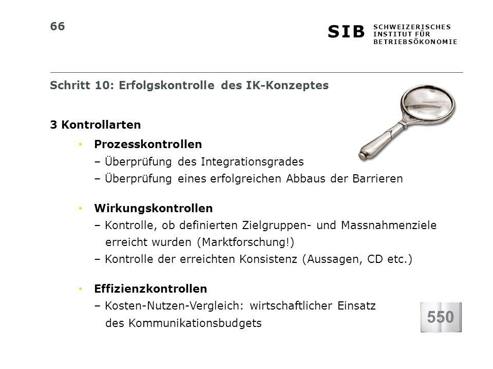 550 Schritt 10: Erfolgskontrolle des IK-Konzeptes 3 Kontrollarten
