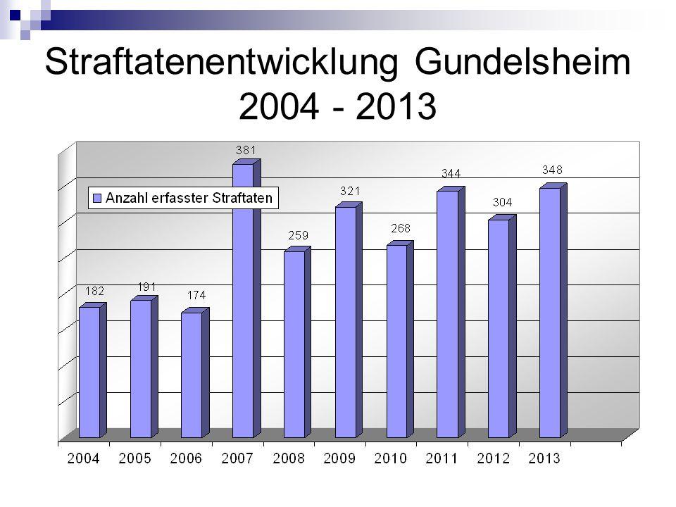 Straftatenentwicklung Gundelsheim 2004 - 2013