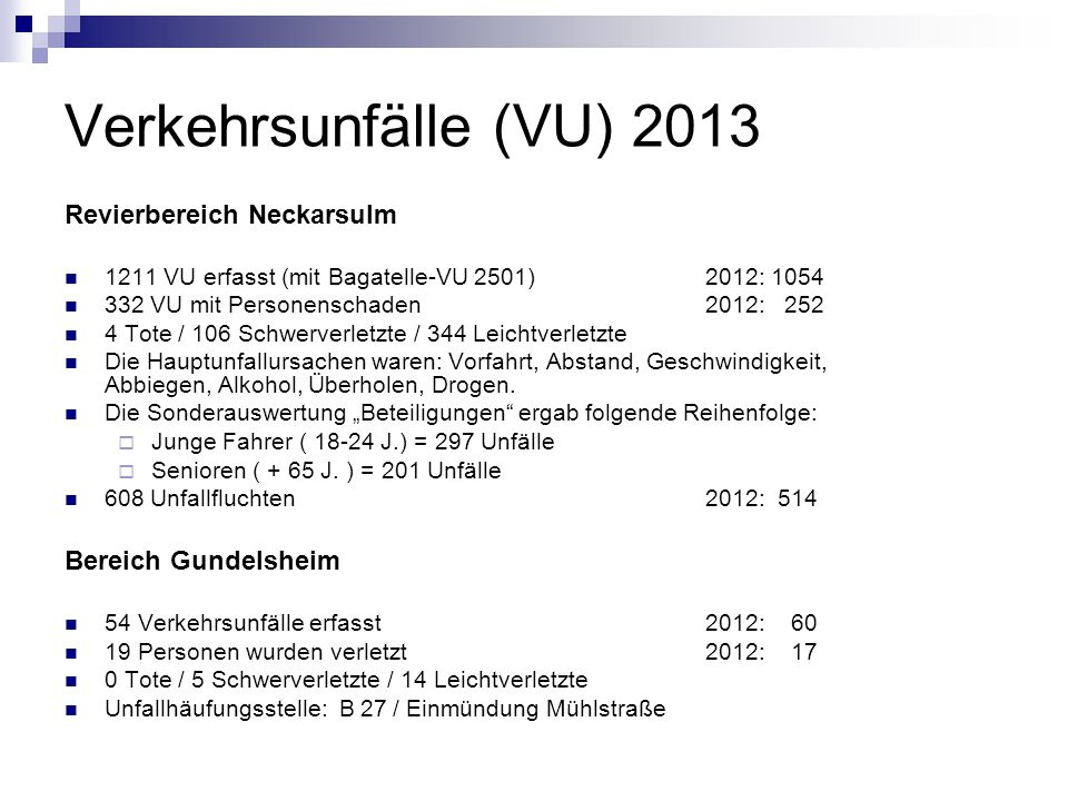Verkehrsunfälle (VU) 2013 Revierbereich Neckarsulm Bereich Gundelsheim