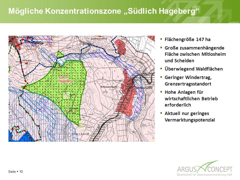 """Mögliche Konzentrationszone """"Südlich Hageberg"""