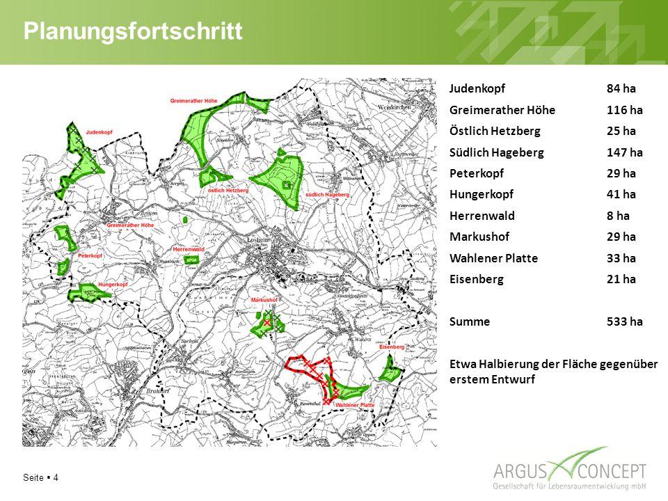 Planungsfortschritt Judenkopf 84 ha Greimerather Höhe 116 ha