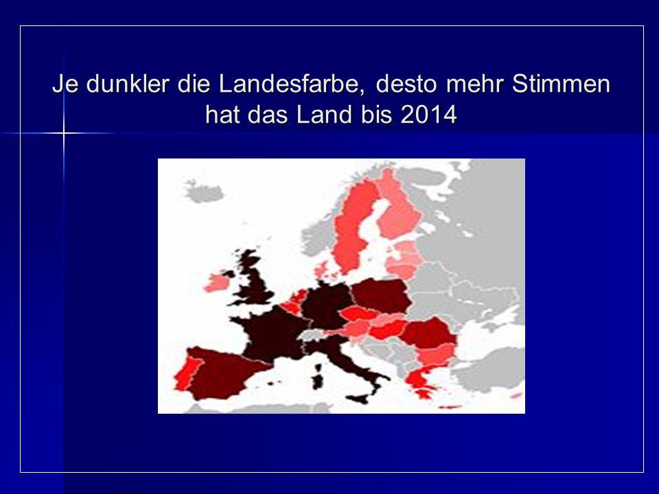 Je dunkler die Landesfarbe, desto mehr Stimmen hat das Land bis 2014