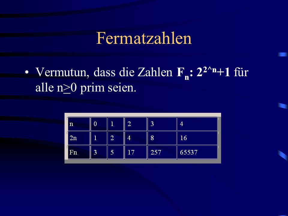 Fermatzahlen Vermutun, dass die Zahlen Fn: 22^n+1 für alle n>0 prim seien.