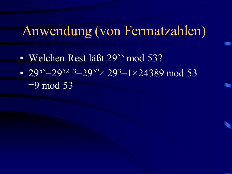 Anwendung (von Fermatzahlen)