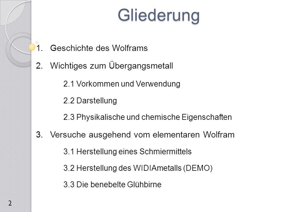 Gliederung Geschichte des Wolframs Wichtiges zum Übergangsmetall