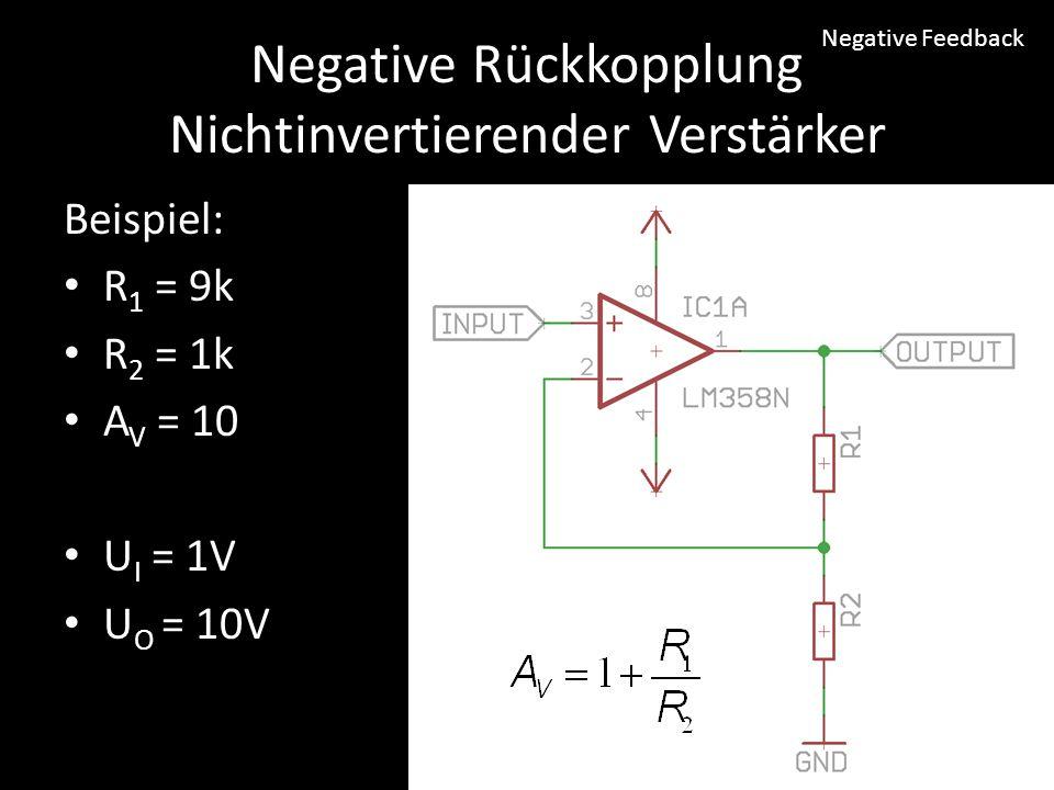 Negative Rückkopplung Nichtinvertierender Verstärker
